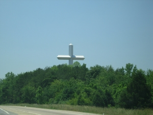 Yes, that is a huge-ass cross in the horizon.